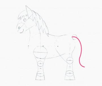 draw pony tail line