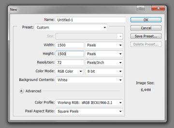 set resolution new file