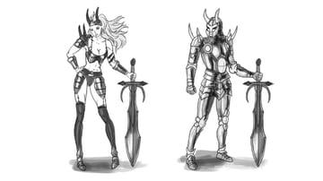 female warrior armor metal bikini