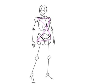 draw a realistic female warrior skeleton