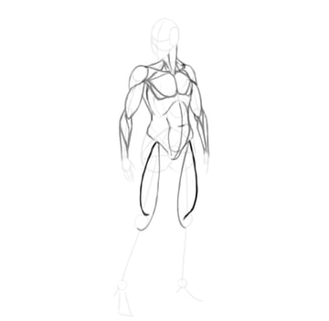 draw a realistic female warrior thigh muscle side