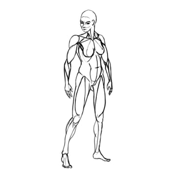 draw a realistic female warrior whole body