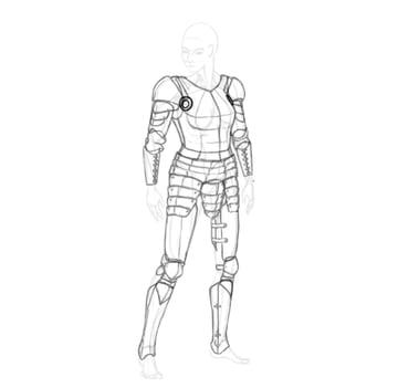draw a realistic female warrior armor besagew armpit armor
