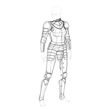 draw a realistic female warrior armor gorget neck armor