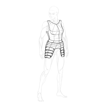 draw a realistic female warrior armor tassets