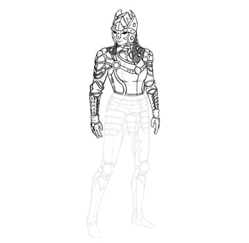 draw realistic female armor functional armguards rivets