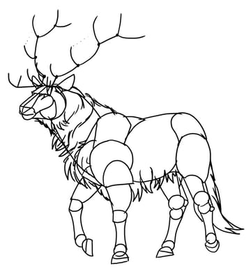 how to draw deer mane furry