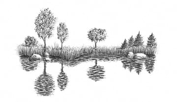 how to draw lake or sea with pencils