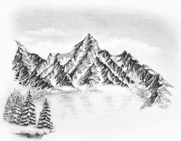 how to draw winter scenery with pencils