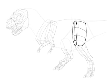 how to draw trex thigh