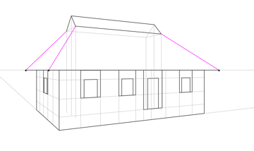 how to draw a roof in perspective