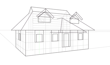how to draw windows on the roof in perspective