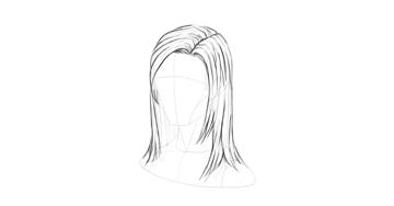 straight hair soft outline