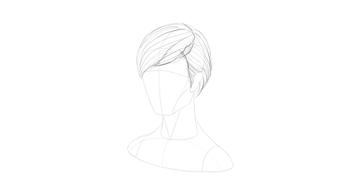 short hair parted fringe