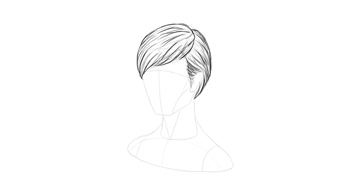 short hair thick outline