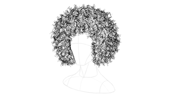 afro hair stray outline