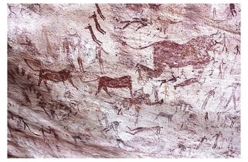 cave drawing humans stick figures