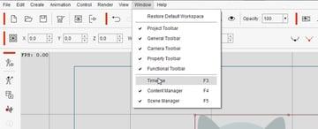 how to open timeline editor crazytalk animator