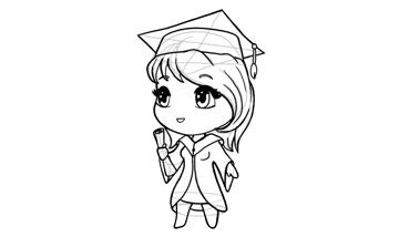 drawing chibi graduation girl