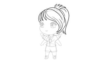drawing chibi simple horsetail haircut