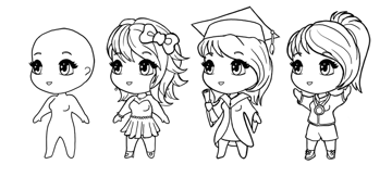 how to draw chibi girls in outfits