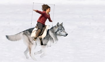 place the girl on the wolf