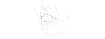 lips drawing in perspective