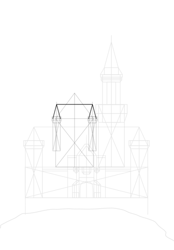 draw roof on each tower