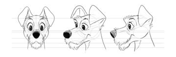 how to draw disney dog head