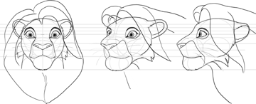 how to draw disney lion head