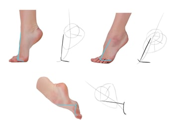 draw rhythm of toes