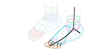 how to draw simple feet