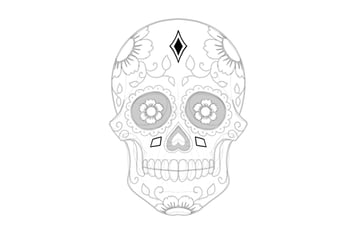 draw shapes on sugar skull