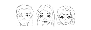 draw cartoon face step by step