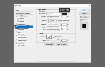 Glass Text PSD Tutorial add inner shadow