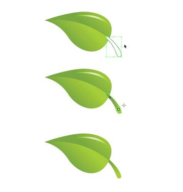 add gradient stem to leaf