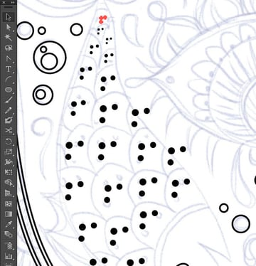 ellipse tool dots circles scale size shape bubble create options path offset object join round miter hand path reflect path anchor point segment vector rounded rectangle illustrator Hand of Mariam Fatima Hand Khamsa Hamesh sketch illustration miss chatz artwork pen blue fish hand palm eye flower pattern heart design tshirt scan copy background mirror horizontal