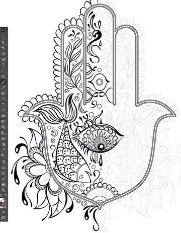 half pattern design sketch paintbrush tool brushes Hand of Mariam Fatima Hand Khamsa Hamesh sketch illustration miss chatz artwork pen blue fish hand palm eye flower pattern heart design tshirt photoshop sketch half pattern