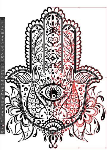 mirrror pattern design reflect tool select all Hand of Mariam Fatima Hand Khamsa Hamesh sketch illustration miss chatz artwork pen blue fish hand palm eye flower pattern heart design tshirt photoshop sketch half pattern