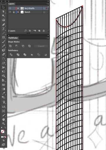 copy paste front back Duplicate Rectangle Selection UAE National Day Poster Sketch Burj Khalifa Sketch Layers