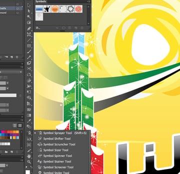 Symbol Sprayer Tool shift S Disperse Window transparency Arrange Bring to Front Command Shift Linear angle Stroke Gradient Blending Mode Stroke Color copy paste front back Duplicate Rectangle Selection UAE National Day Poster Sketch Burj Khalifa Sketch Layer