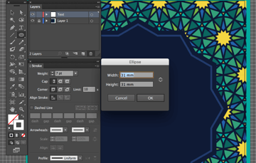adobe illustrator ellipse tool circle round letter form create baseline