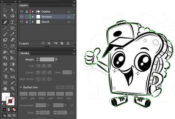 border trace pent tool white black white outline version mascot character