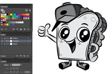 swatches panel pen tool grey tones mascot grey scale mascot adobe illustrator