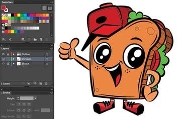 adobe illustrator color pen tool duplicate shapes mascot coloring