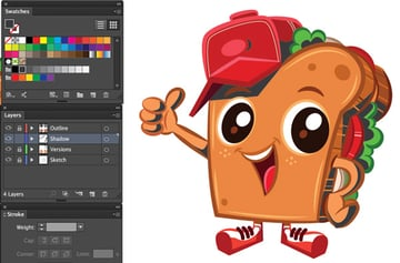 adobe illustrator pent tool add shadow mascot new layer
