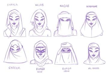 hijab avatar sketches