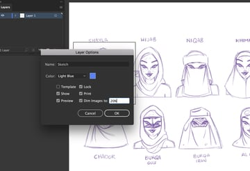 layer dim sketch lock Illustration adobe Illustrator