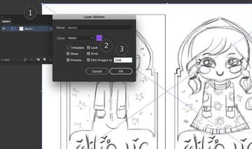 illustrator layers lock sketch dim images