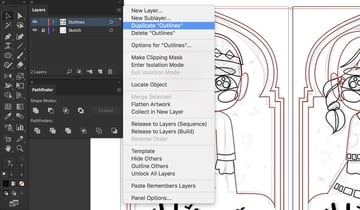Layers panel duplicate options outline layer